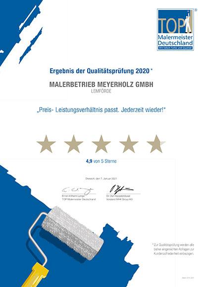 Ergebnis der Qualitätsprüfung 2020