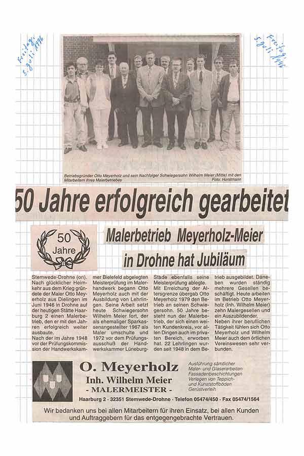 Firmenjubiläum Meyerholz GmbH in Lemförde